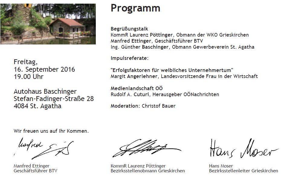 Unternehmerabend im Autohaus Baschinger am 17.9.2016 (Video ansehen)