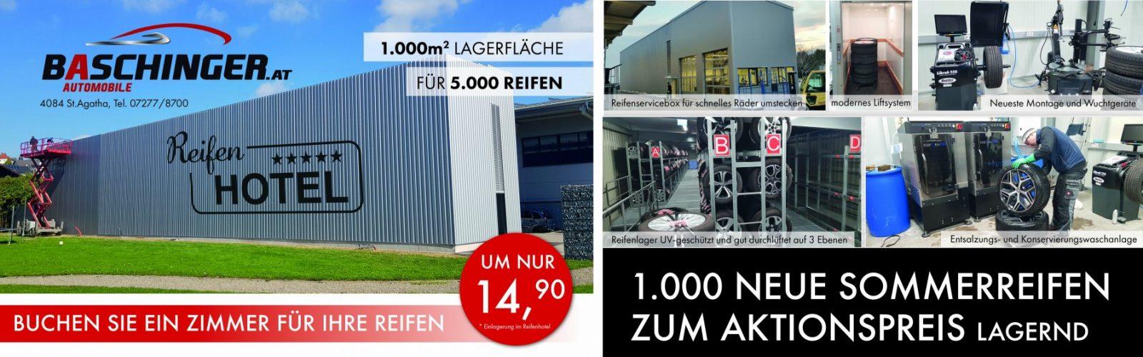 Reifenhotel April  2019 bei Ing. Günther Baschinger GmbH in