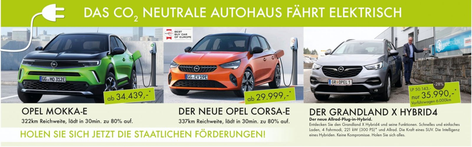 Das CO2 NEUTRALE AUTOHAUS FÄHRT ELEKTRISCH bei Ing. Günther Baschinger GmbH in