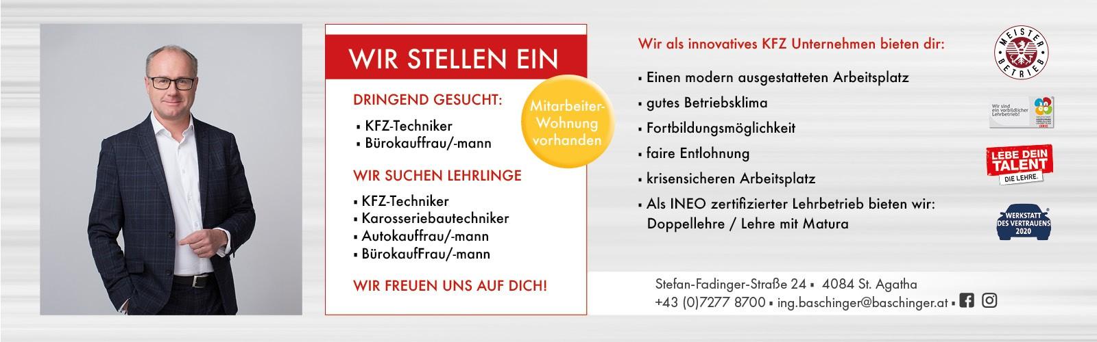 Wir stellen ein bei Ing. Günther Baschinger GmbH in